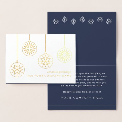 No Logo Business Holiday Snowflake Ornaments Gold Foil Card