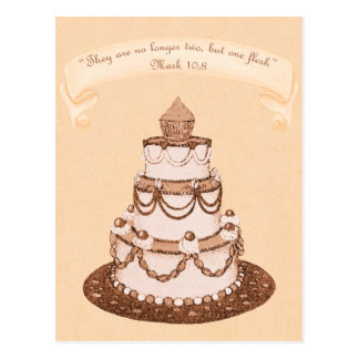 No Longer 2 but 1 Flesh~Wedding Cake Scripture Postcard