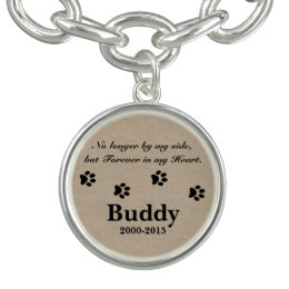 No longer by my side but forever in my heart pet charm bracelet