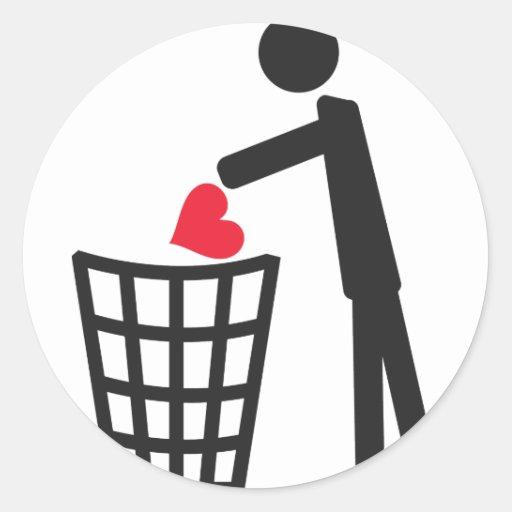 no love classic round sticker