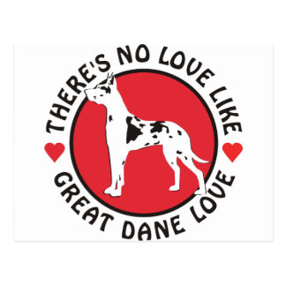 No Love Like Great Dane Love-Harlequin Postcard