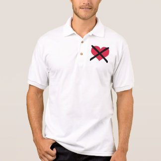 No love red heart polo t-shirts