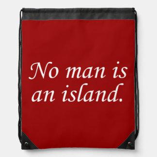 No Man Is An Island Drawstring Backpack