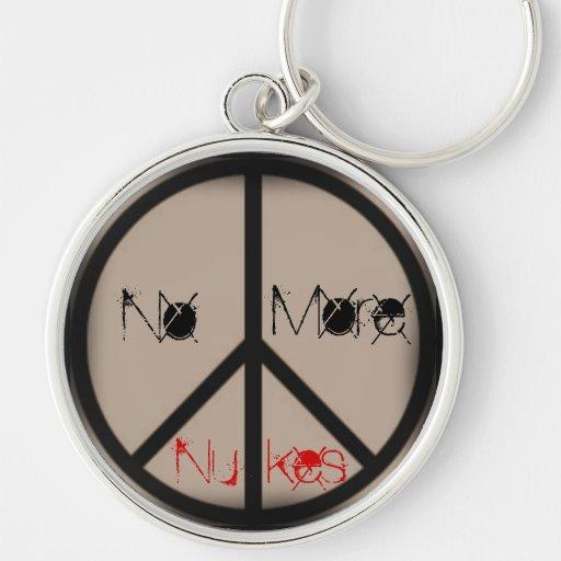 No más Arma-Prohibición el signo de la paz de la b Llavero Redondo Plateado