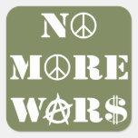 No más de guerras pegatinas cuadradas personalizadas