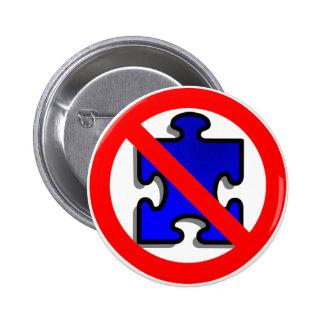 No más de pedazos del rompecabezas para el autismo pin redondo de 2 pulgadas