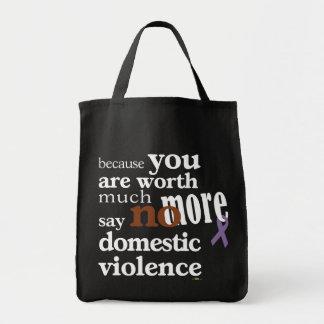 No más de violencia en el hogar bolsa tela para la compra