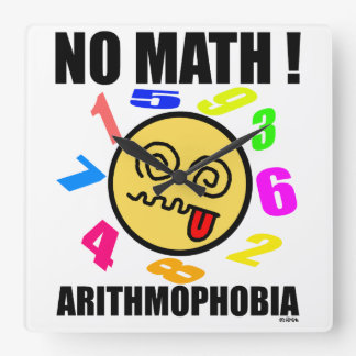 No math! Arithmophobia Square Wall Clock