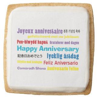 No Matter How You Say It Anniversary Square Shortbread Cookie