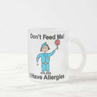 No me alimente que tengo alergias taza de cristal