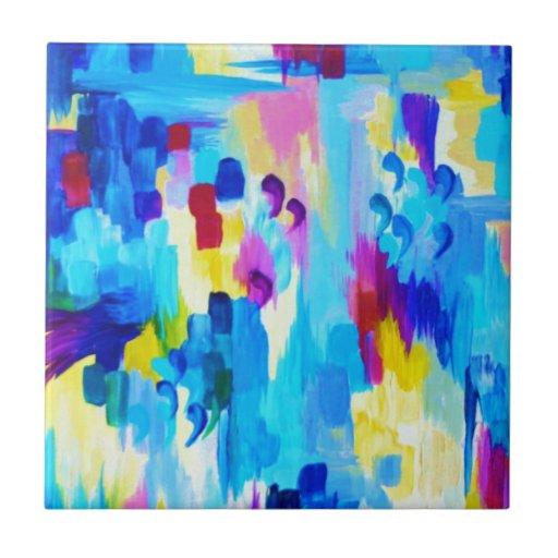 NO ME CITE, revisitado - rosa azul colorido intrép Azulejos Cerámicos