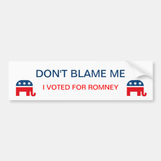 No me culpe que voté por la pegatina para el parac pegatina de parachoque