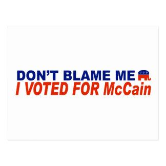 No me culpe que voté por McCain Postal