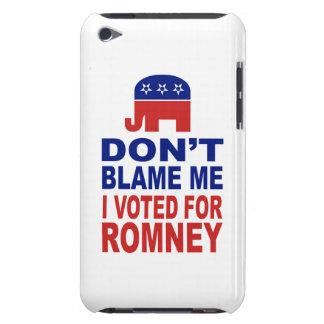 No me culpe que voté por Romney Barely There iPod Carcasa