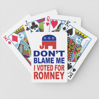 No me culpe que voté por Romney Baraja De Cartas