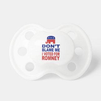 No me culpe que voté por Romney Chupetes De Bebé