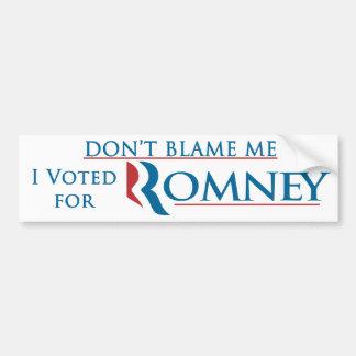 No me culpe que voté por Romney con el logotipo Etiqueta De Parachoque