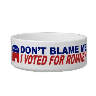 No me culpe que voté por Romney Tazon Para Gato