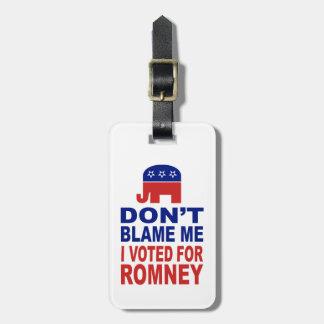 No me culpe que voté por Romney Etiquetas Bolsas