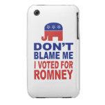 No me culpe que voté por Romney Case-Mate iPhone 3 Funda