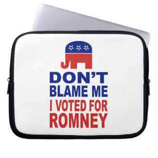 No me culpe que voté por Romney Fundas Computadoras