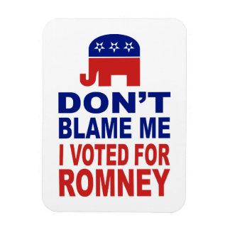 No me culpe que voté por Romney Imán Foto Rectangular