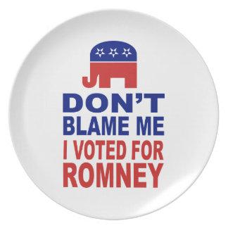 No me culpe que voté por Romney Plato De Comida