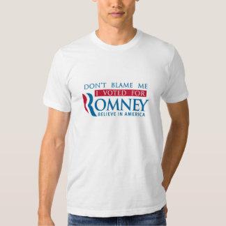 No me culpe que voté por Romney Playeras
