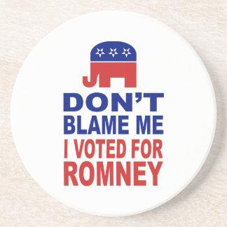 No me culpe que voté por Romney Posavasos Para Bebidas