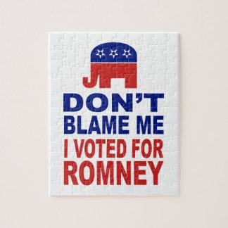 No me culpe que voté por Romney Puzzle