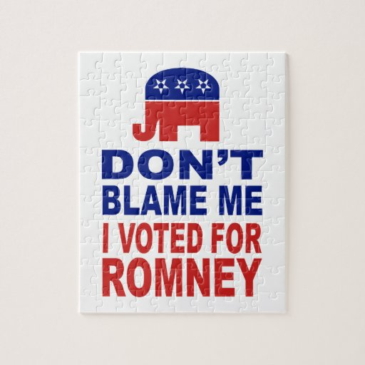 No me culpe que voté por Romney Rompecabeza