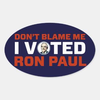 No me culpe sistema del pegatina de Ron Paul