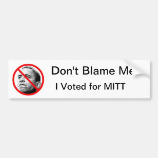 No me culpe - voté por bumpersticker del mitón pegatina para auto
