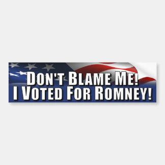 No me culpe - voté por Romney Etiqueta De Parachoque