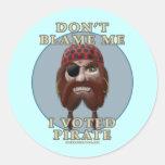 No me culpe, yo votó al pirata etiqueta redonda