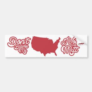 No me culpe yo votó por Mitt Romney los E E U U Pegatina De Parachoque