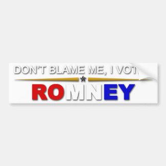 No me culpe yo votó Romney Etiqueta De Parachoque