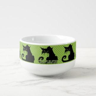 No me dé el consejo el decir enojado del gato bol para sopa