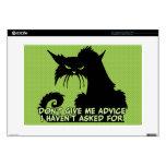 No me dé el consejo el decir enojado del gato calcomanías para portátiles