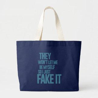 No me dejarán ser mismo, yo apenas lo falsifican bolsa lienzo
