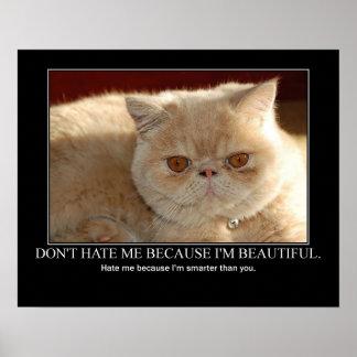 No me odie… las ilustraciones del gato divertidas posters