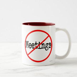No Meetings Funny Office Saying Two-Tone Coffee Mug