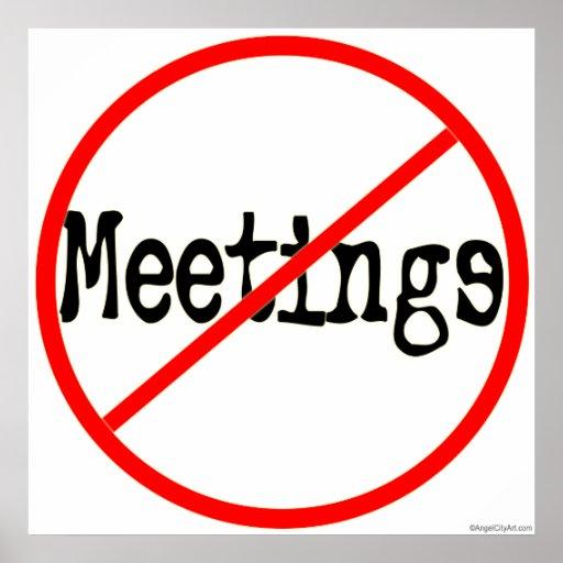 No Meetings Office Humor Saying Print