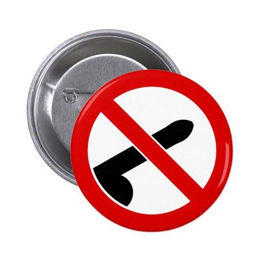 No Men Allowed Feminist Anti-Penis Symbol 2 Inch Round Button