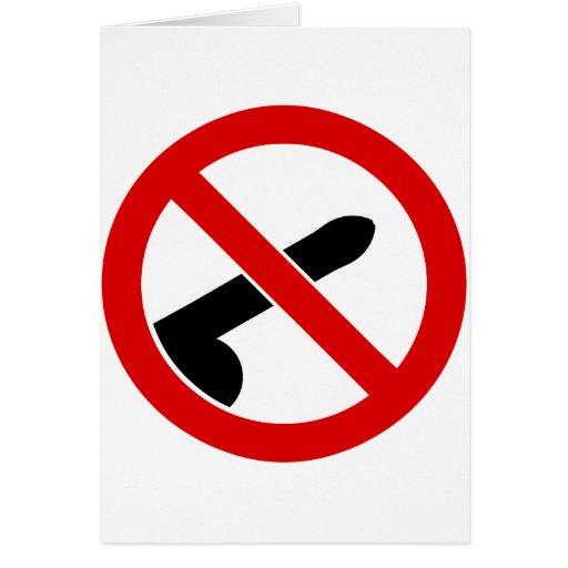 No Men Allowed Feminist Anti-Penis Symbol Greeting Card