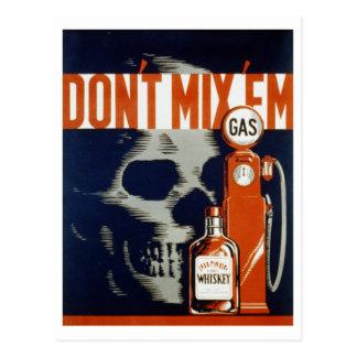 No mezcle la bebida Em-Don't y no conduzca Postal