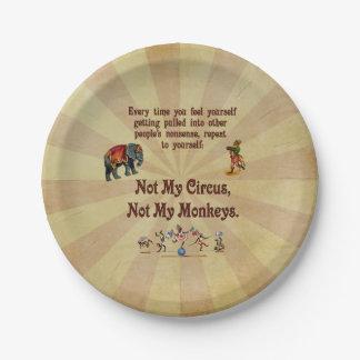 No mi circo, no mis monos plato de papel de 7 pulgadas