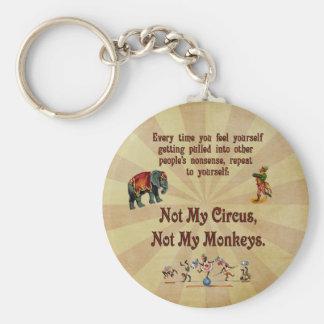 No mis monos, no mi circo llavero redondo tipo pin