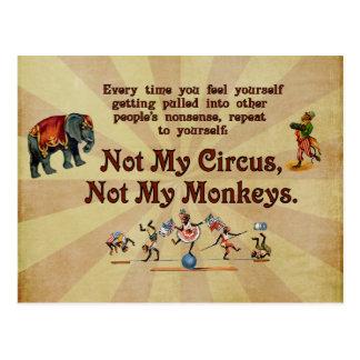 No mis monos, no mi circo tarjeta postal