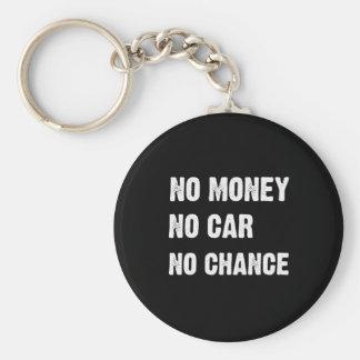 NO MONEY. NO CAR. NO CHANCE. KEYCHAIN